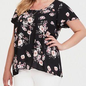 Torrid Short Sleeve Black Floral Blouse
